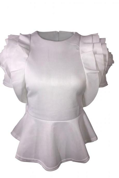 Women Casual T Shirt Summer Ruffles Short Sleeve Asymmetrical Tunic Tops Blouses off white
