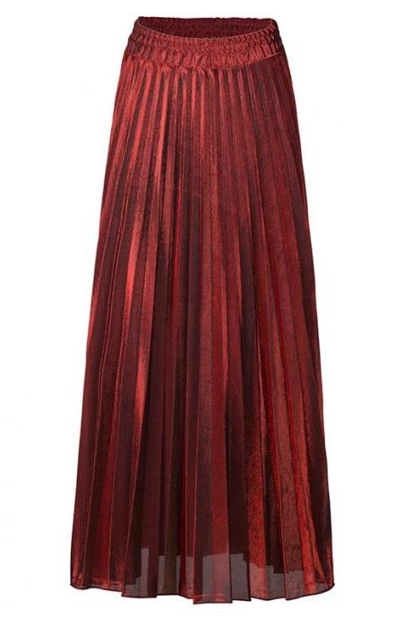 Women Maxi Skirt High Waist Ankle Length Casual Metallic Long Pleated Skirt red