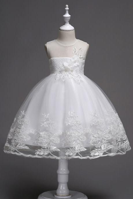 Lace Flower Girl Dress Sleeveless Princess Wedding Birthday Party Wear Kid Clothes off white