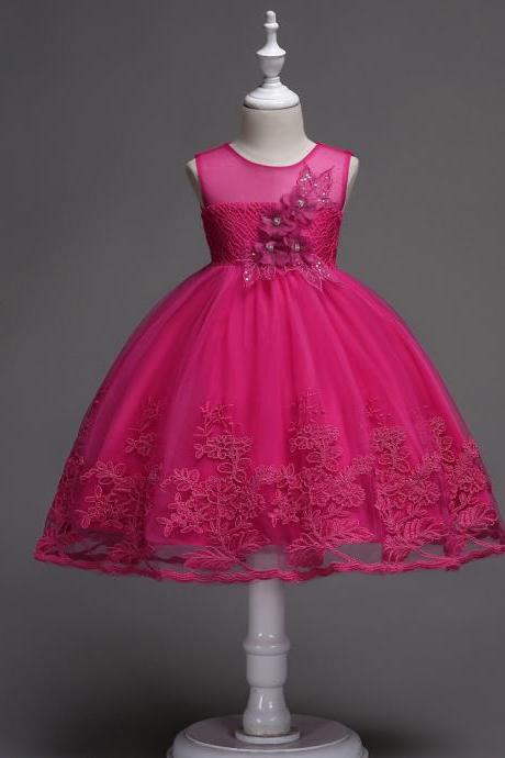 Lace Flower Girl Dress Sleeveless Princess Wedding Birthday Party Wear Kid Clothes hot pink