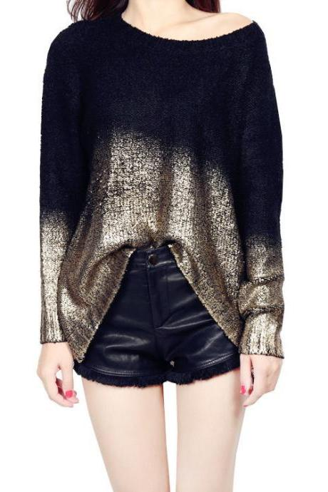 Women Knitted Sweater Gold Stamping Long Sleeve Loose Oversized Gradient Color Warm Pullovers black+gold