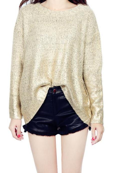 Women Knitted Sweater Gold Stamping Long Sleeve Loose Oversized Gradient Color Warm Pullovers gold