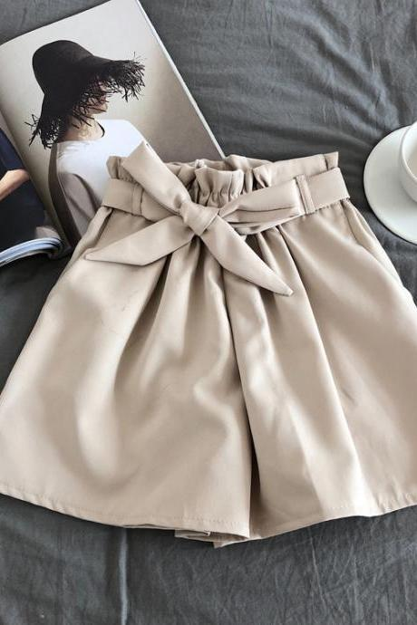 Women Casual Shorts Summer Elastic High Waist Bow Belted Streetwear Loose Wide Leg Shorts khaki