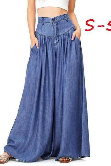 Women Wide Leg Pants High Waist Pockets Casual Loose Plus Size Long Trousers blue
