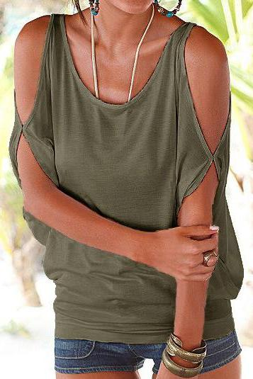 Women T Shirt Off the Shoulder Short Sleeve Summer Loose Casual Tee Tops army green