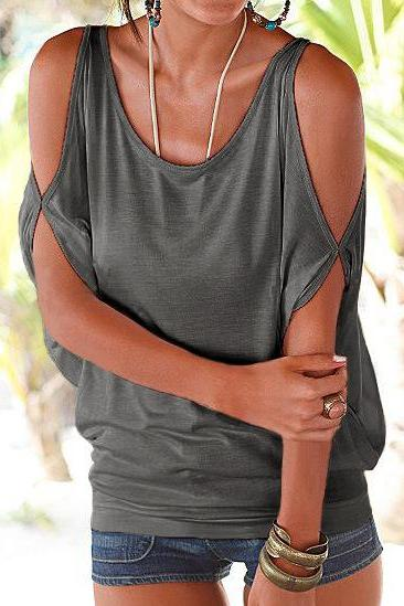 Women T Shirt Off the Shoulder Short Sleeve Summer Loose Casual Tee Tops gray