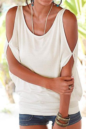 Women T Shirt Off the Shoulder Short Sleeve Summer Loose Casual Tee Tops off white