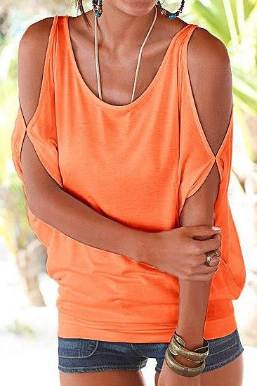Women T Shirt Off the Shoulder Short Sleeve Summer Loose Casual Tee Tops orange