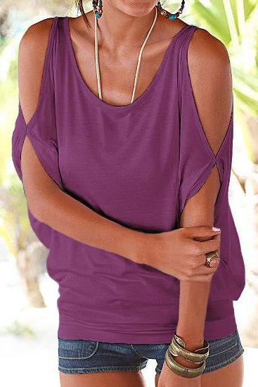 Women T Shirt Off the Shoulder Short Sleeve Summer Loose Casual Tee Tops purple