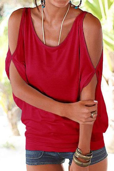 Women T Shirt Off the Shoulder Short Sleeve Summer Loose Casual Tee Tops red