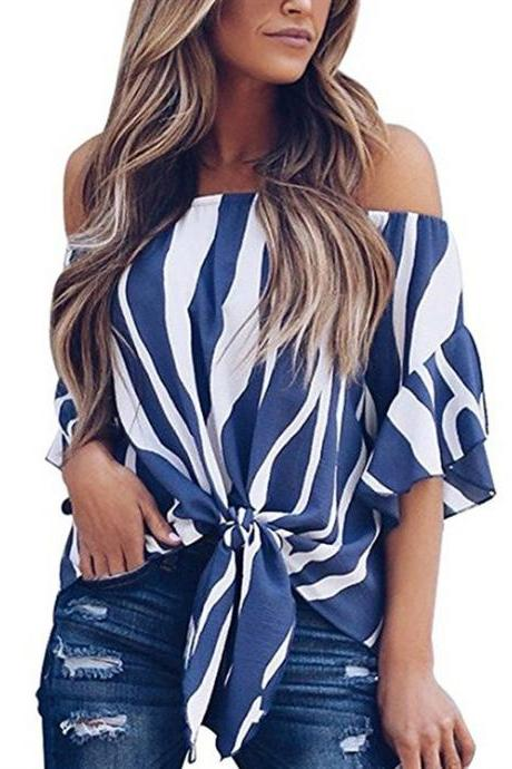 Women Striped Blouse Flare Sleeve Waist Tie Off Shoulder Tops Summer Casual Loose Shirt blue