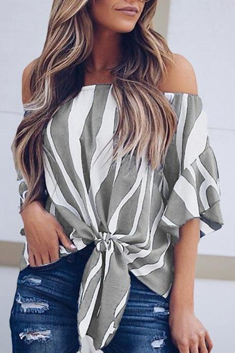 Women Striped Blouse Flare Sleeve Waist Tie Off Shoulder Tops Summer Casual Loose Shirt gray