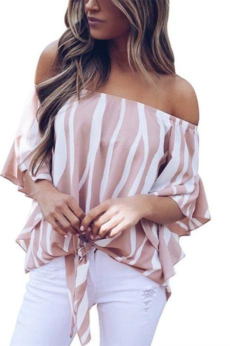 Women Striped Blouse Flare Sleeve Waist Tie Off Shoulder Tops Summer Casual Loose Shirt pink