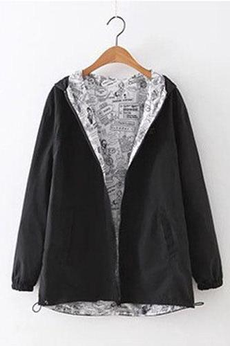 Women Bomber Basic Jacket Spring Fall Pocket Zipper Hooded Two Side Wear Cartoon Print Outwear Loose Coat black
