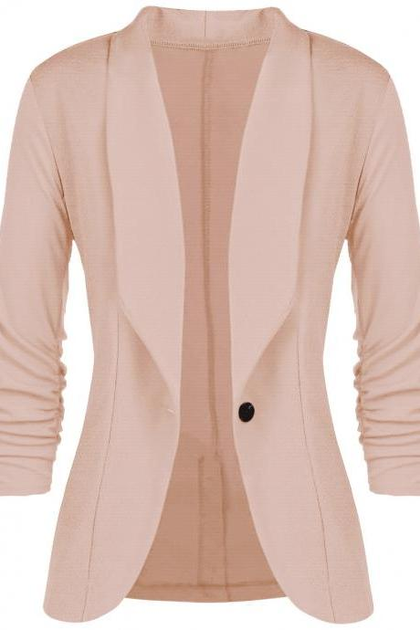 Women Slim Suit Coat 3/4 Sleeve One Button Casual Office Business Blazer Jacket Outwear khaki