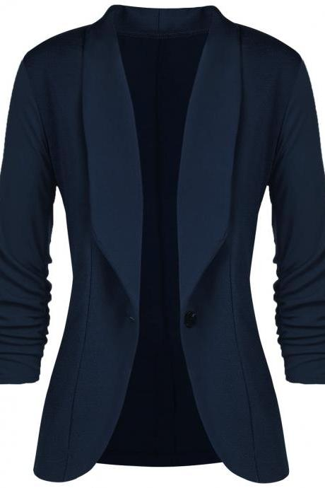 Women Slim Suit Coat 3/4 Sleeve One Button Casual Office Business Blazer Jacket Outwear navy blue