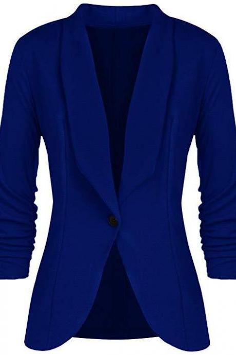 Women Slim Suit Coat 3/4 Sleeve One Button Casual Office Business Blazer Jacket Outwear royal blue