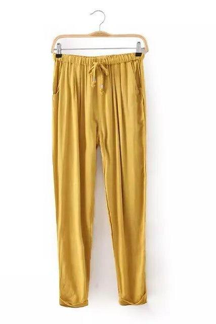 Women Casual Harem Pants Drawstring Elastic Waist Ankle Length Slim Long Trousers yellow