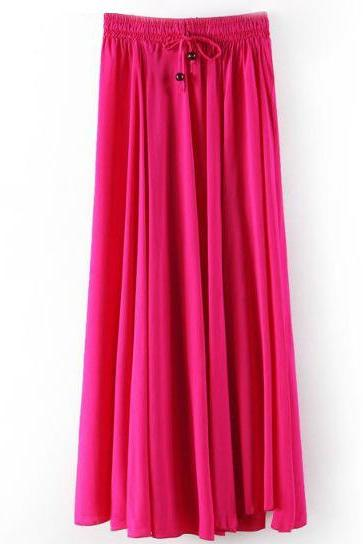 Women Maxi Skirt Summer Fashion Solid Casual Drawstring Elastic Waist Long Pleated Skirt hot pink