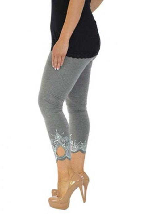 Women Leggings Floral Lace Hollow Out Slim Skinny Casual Plus Size Pencil Pants gray