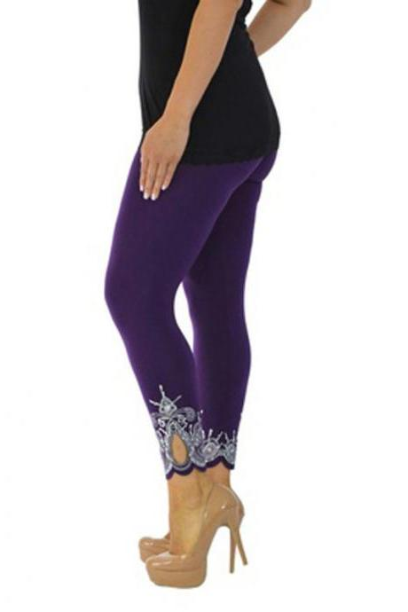 Women Leggings Floral Lace Hollow Out Slim Skinny Casual Plus Size Pencil Pants purple