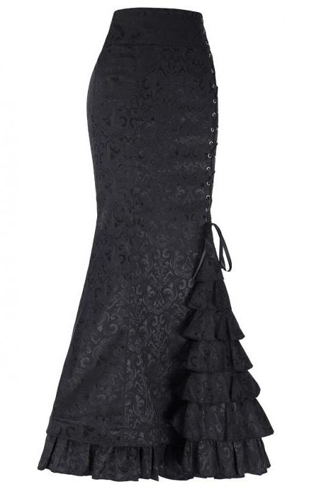Gothic Mermaid Skirt Sexy Lace-Up Floor-Length Women Maxi Skirt Vintage Fishtail Long Steampunk Skirt black