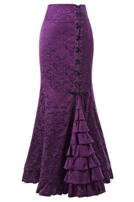 Gothic Mermaid Skirt Sexy Lace-Up Floor-Length Women Maxi Skirt Vintage Fishtail Long Steampunk Skirt purple