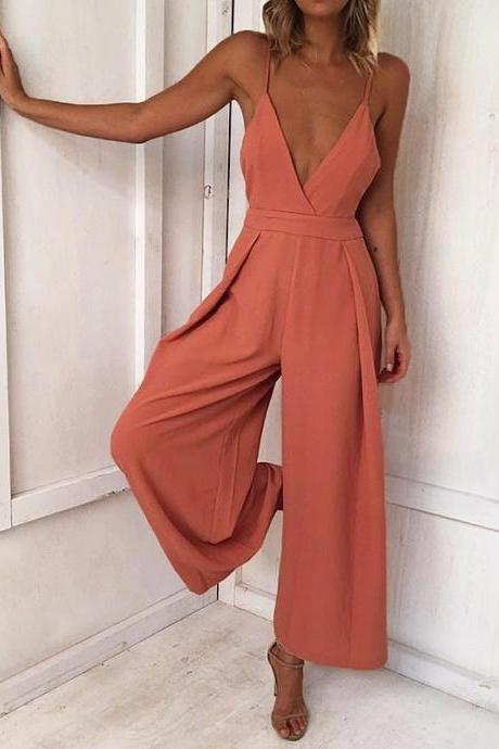 Women Wide Leg Jumpsuit Spaghetti Strap Backless Sleeveless Casual Streetwear Rompers Overalls orange