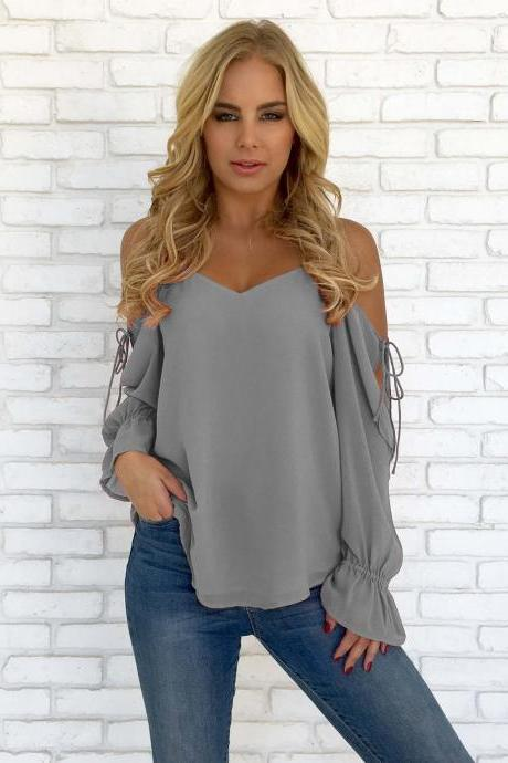 Women Chiffon Blouses Off Shoulder Long Sleeve Lace up Summer Casual Loose Tops Shirts gray