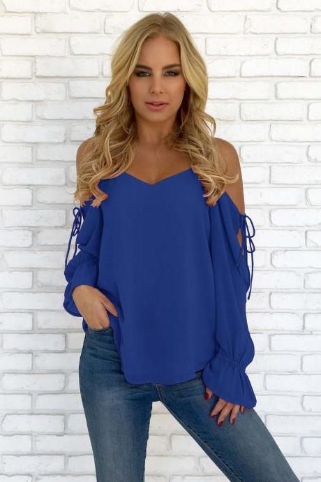 Women Chiffon Blouses Off Shoulder Long Sleeve Lace up Summer Casual Loose Tops Shirts royal blue