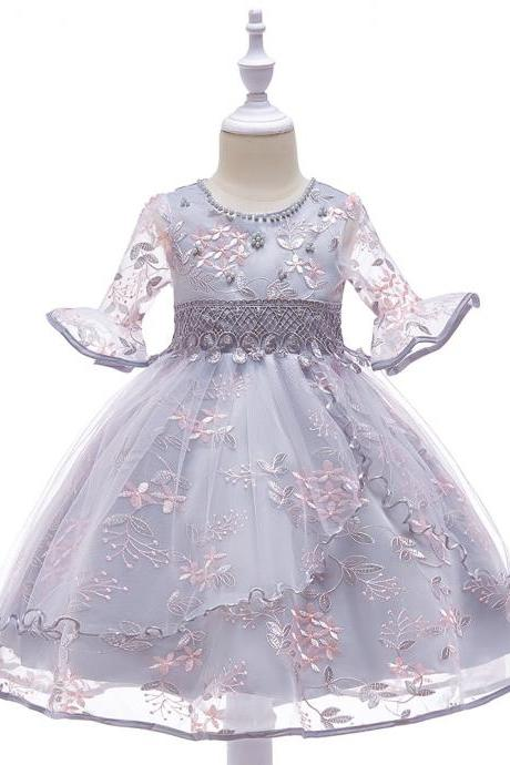 Embroidery Flower Girl Dress Short Sleeve Floral Birthday Prom Party Gown Children Clothes gray