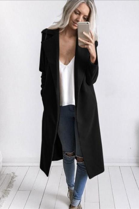 Autumn Winter Women Woolen Long Coat Long Sleeve Pockets Slim Casual Jackets Overcoat black