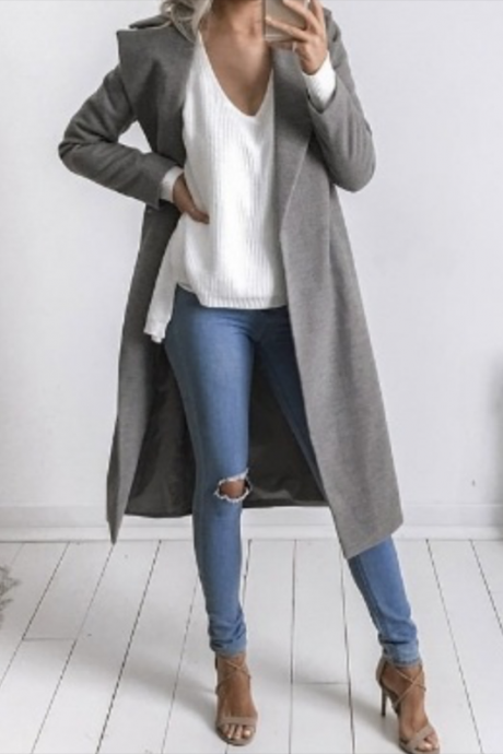 Autumn Winter Women Woolen Long Coat Long Sleeve Pockets Slim Casual Jackets Overcoat gray
