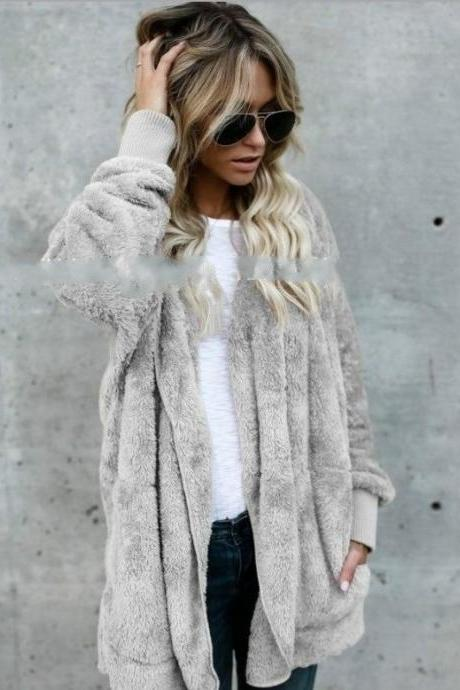 Women Faux Fur Coat Winter Long Sleeve Hooded Warm Fluffy Cardigan Jacket Overcoat gray