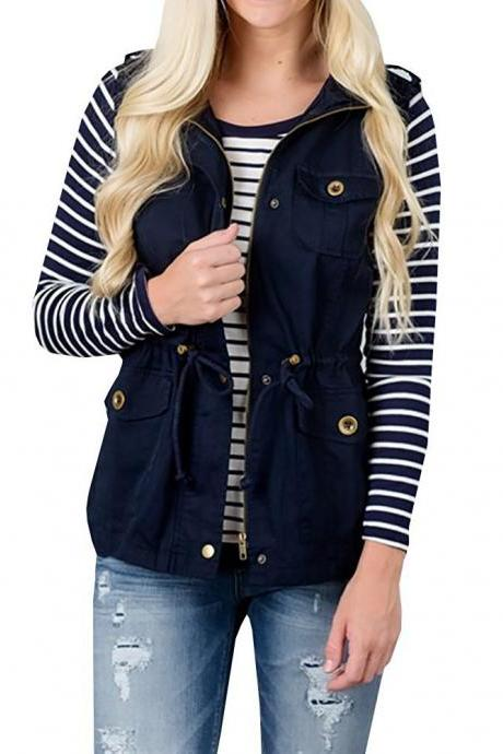 Women Waistcoat Fashion Pocket Buttons Casual Sleeveless Vest Cost Jacket Outwear navy blue