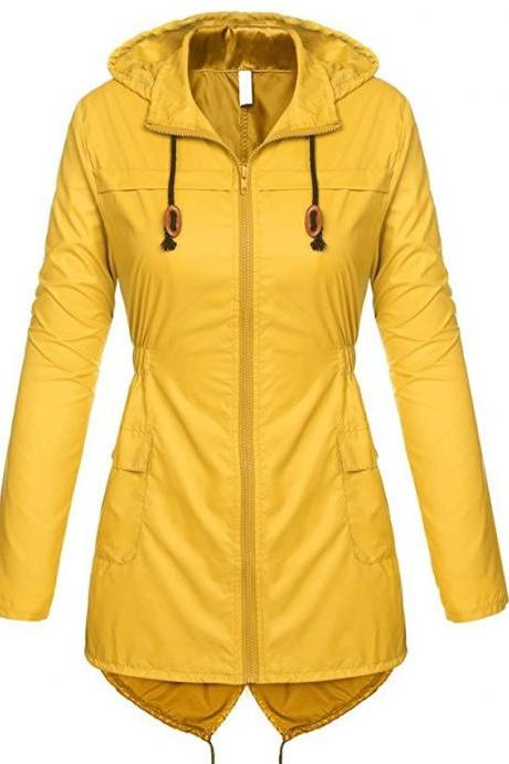 Women Raincoat Spring Autumn Hooded Long Sleeve Slim Fit Casual Waterproof Coat Jacket yellow