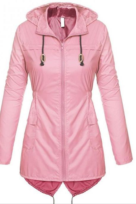 Women Raincoat Spring Autumn Hooded Long Sleeve Slim Fit Casual Waterproof Coat Jacket pink