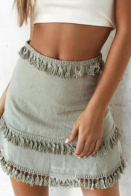 Women Mini Skirt Tassel Patchwork Casual Hight Waist Summer Streetwear Short Bodycon Skirt pale green