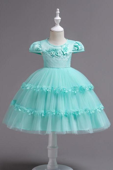 Lace Flower Girl Dress Cap Sleeve Wedding Communion Party Tutu Gown Kids Children Clothes aqua