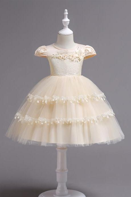Lace Flower Girl Dress Cap Sleeve Wedding Communion Party Tutu Gown Kids Children Clothes champagne