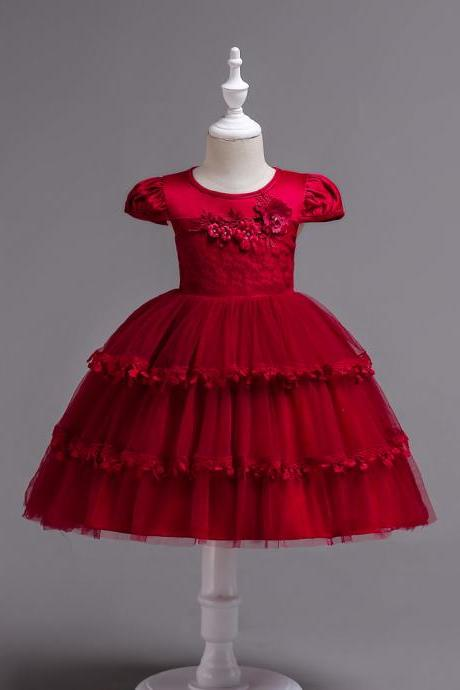 Lace Flower Girl Dress Cap Sleeve Wedding Communion Party Tutu Gown Kids Children Clothes crimson
