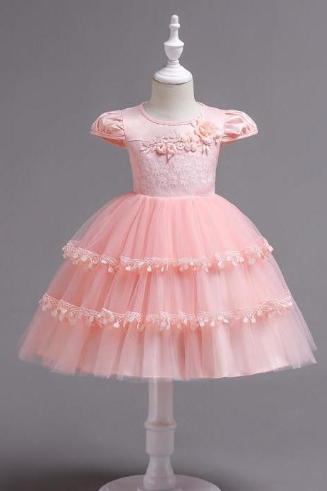 Lace Flower Girl Dress Cap Sleeve Wedding Communion Party Tutu Gown Kids Children Clothes pink