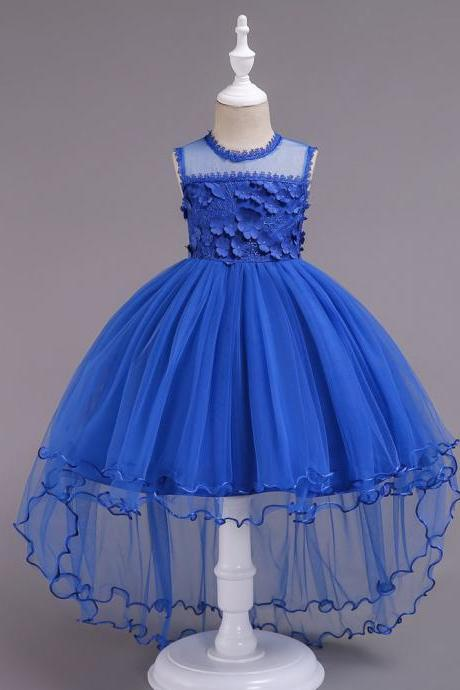 High Low Lace Flower Girls Dress Sleeveless Trailing Formal Party Birthday Gown Children Clothes blue