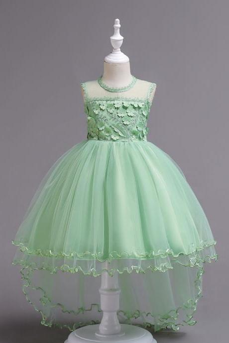 High Low Lace Flower Girls Dress Sleeveless Trailing Formal Party Birthday Gown Children Clothes light green