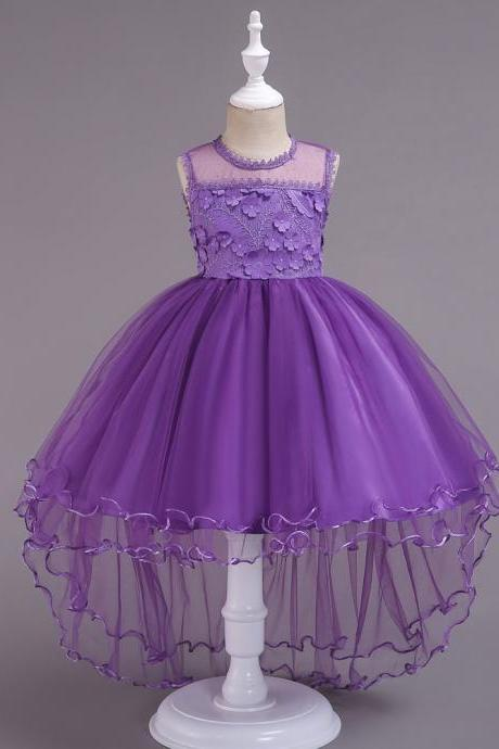High Low Lace Flower Girls Dress Sleeveless Trailing Formal Party Birthday Gown Children Clothes purple