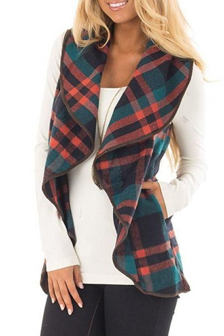 Women Plaid Waistcoat Spring Autumn Lapel Neck Casual Sleeveless Coat Cardigan Vest Jackets red+green