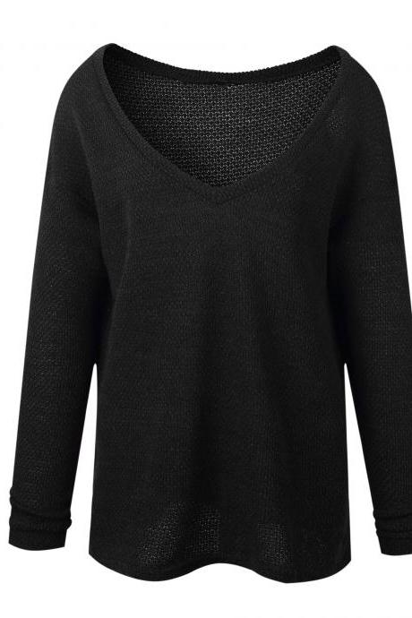 Women Knitted Sweater Spring Autumn V Neck Long Sleeve Casual Loose Top Pullover black