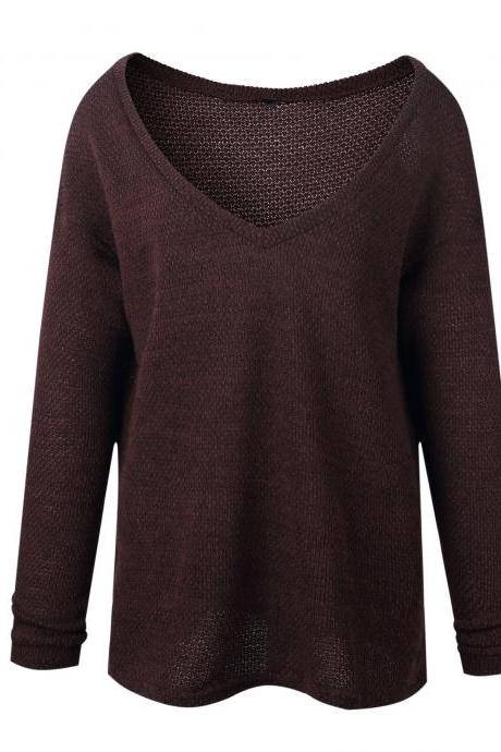 Women Knitted Sweater Spring Autumn V Neck Long Sleeve Casual Loose Top Pullover coffee