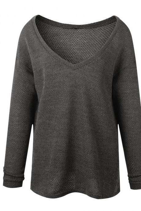 Women Knitted Sweater Spring Autumn V Neck Long Sleeve Casual Loose Top Pullover dark gray