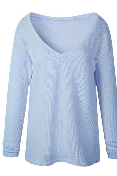 Women Knitted Sweater Spring Autumn V Neck Long Sleeve Casual Loose Top Pullover light blue